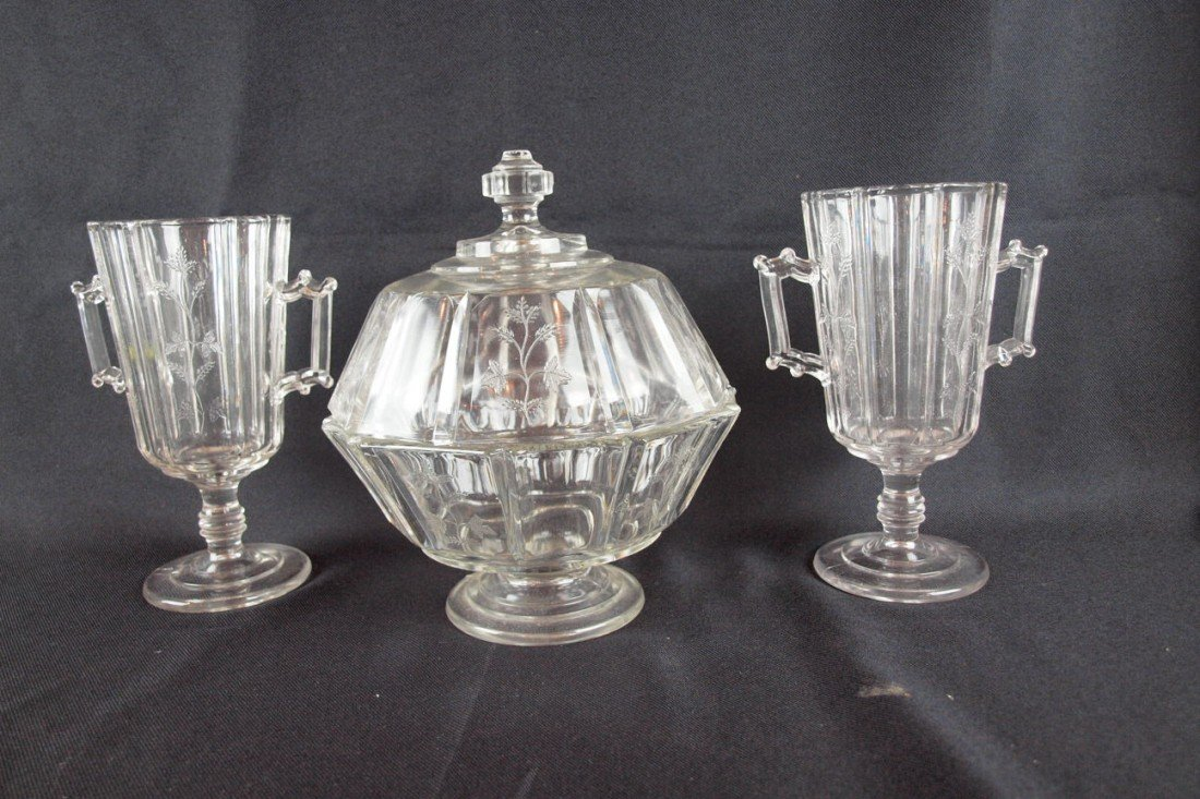 """80: EAPG """"Sprig"""" lot of 3 pieces - 2 celery vases and c"""