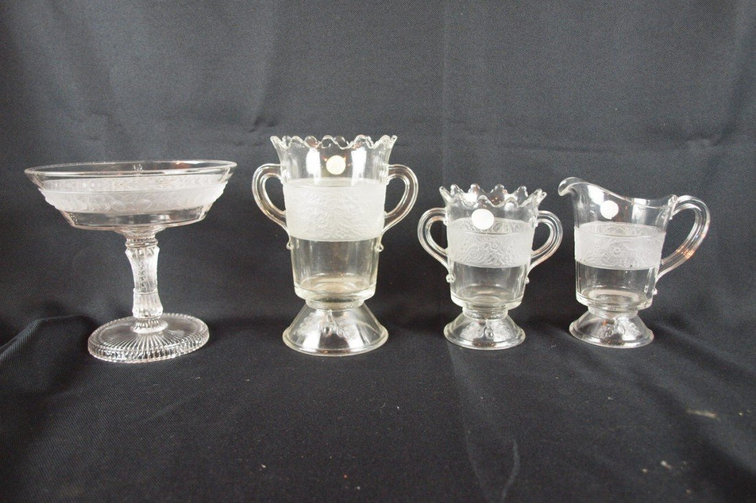 """85: EAPG lot of 4 pieces - """"Frosted Strawberry Band"""" op"""