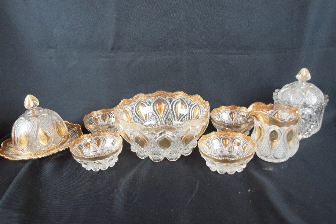 88: EAPG lot of 8 pieces with gold accent, butter, crea