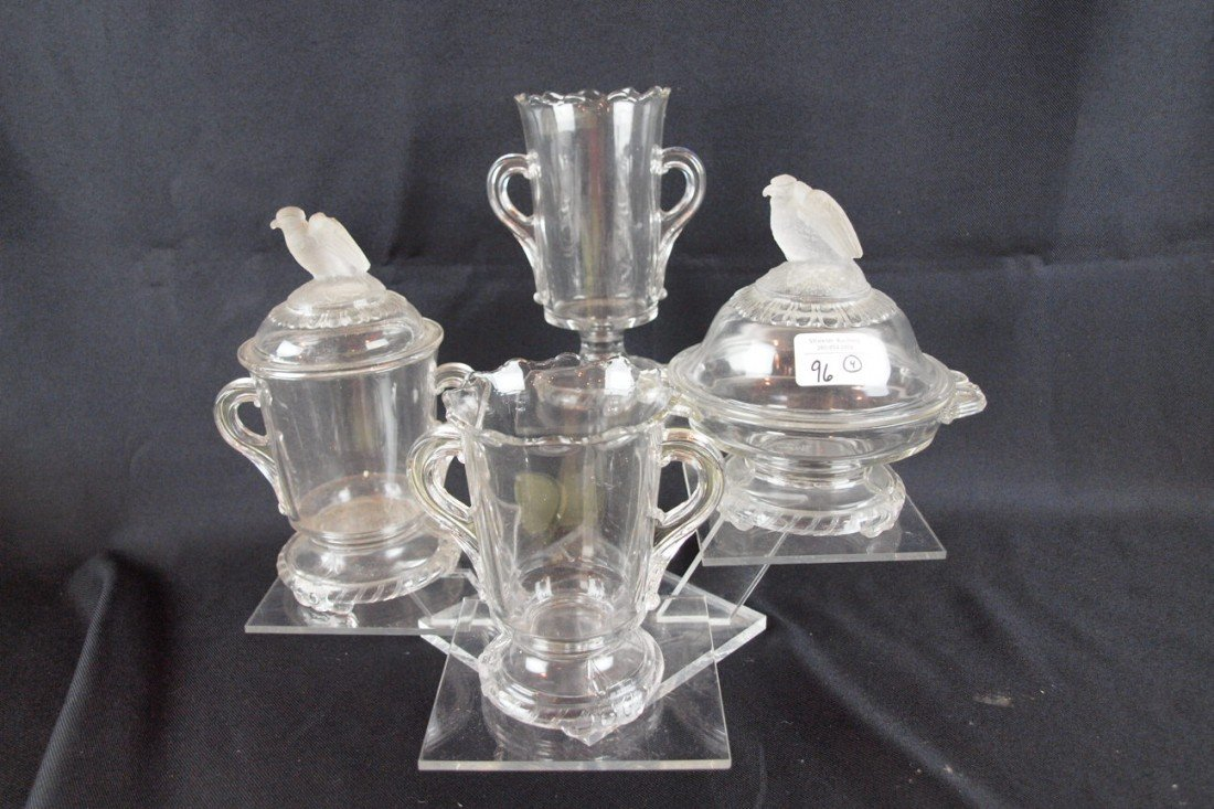 """96: EAPG """"Frosted Eagle, Old Abe"""" table setting pieces"""