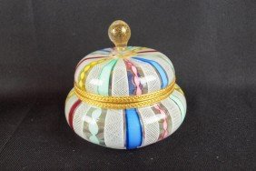 Art Glass Candy Stripe Covered Jar With Brass Fitt