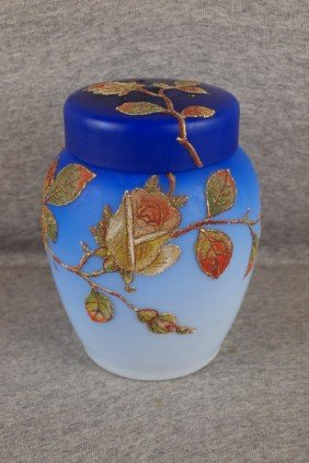 Blue Satin Cased Glass Covered Potpourri Covered J