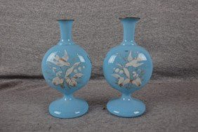 Pair Of Bristol Glass Turquoise Flat Sided Moon Va
