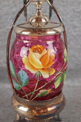 Cranberry Glass Pickle Castor With Enamel Roses, 1