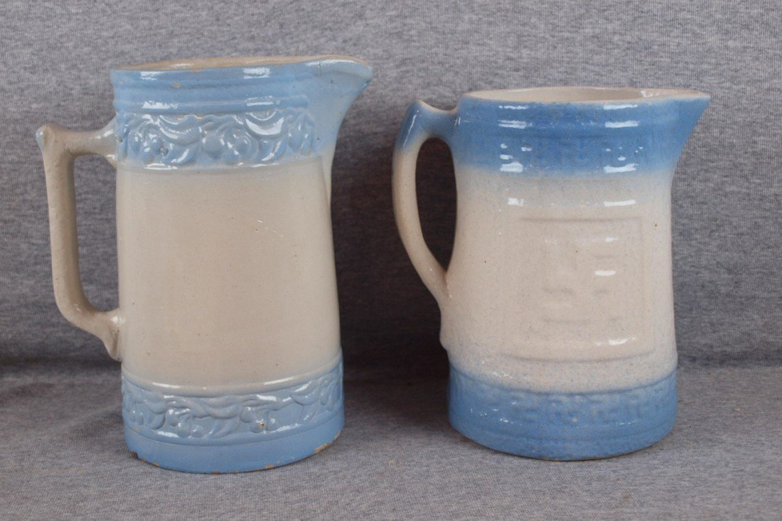 146: Blue and white stoneware lot of 2 pitchers - Cherr