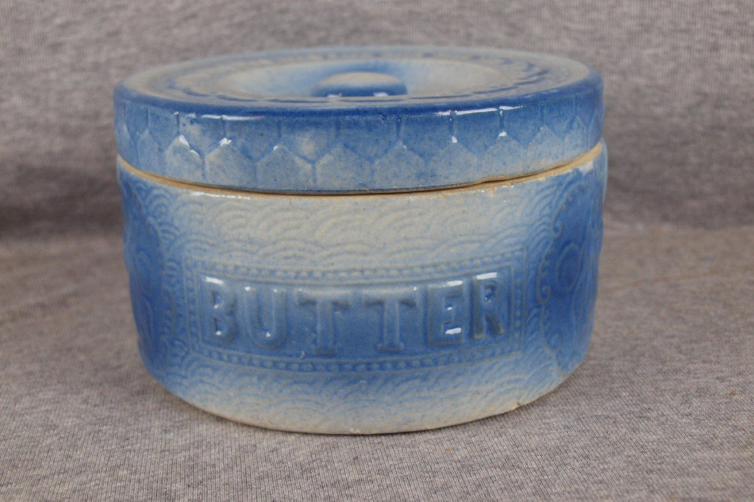 """147: Blue and white stoneware butter crock with lid, """"A"""