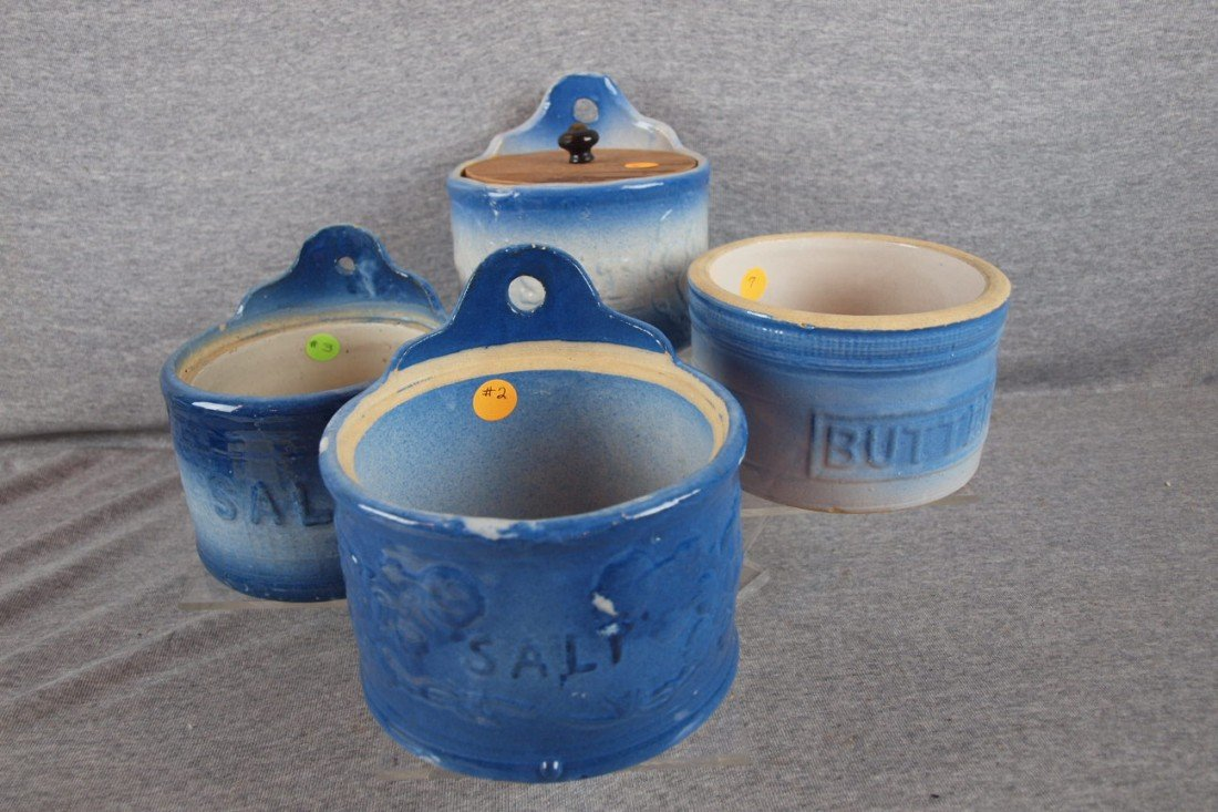 149: Blue and white stoneware lot of 3 salt crocks and
