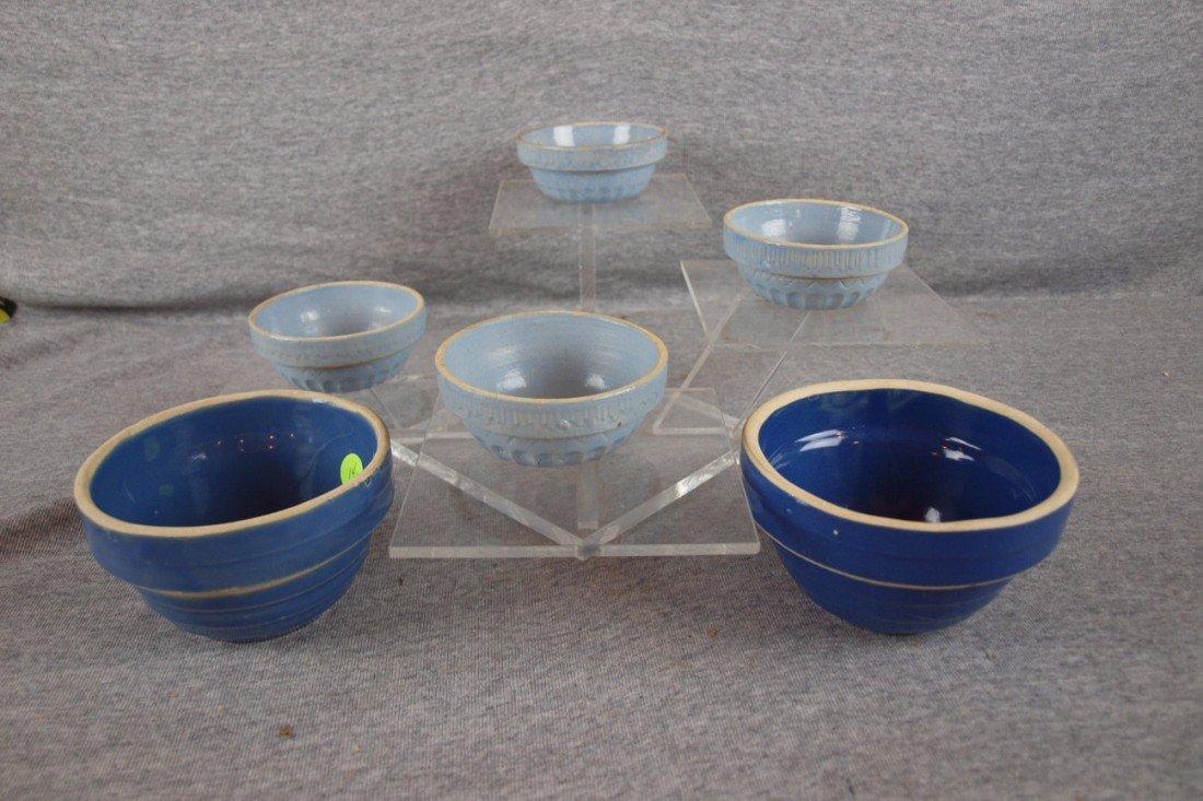 151: Blue and white stoneware lot of 6 bowls - 4 mini b