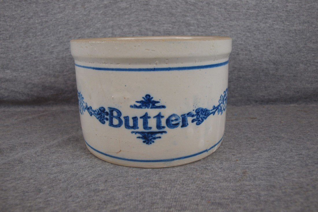153: Blue and white stoneware butter crock