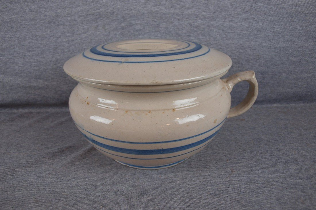 154: Blue and white stoneware blue band chamber pot and
