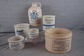 Blue And White Stoneware Lot Of 6 Advertising Piec