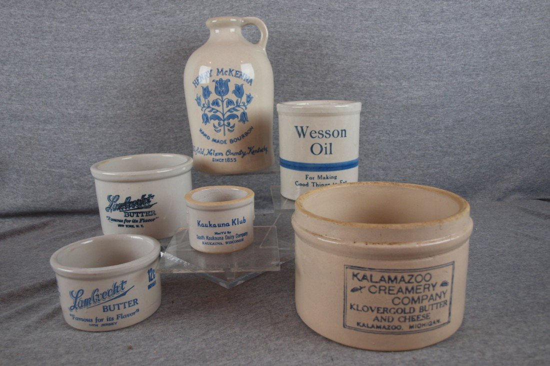 155: Blue and white stoneware lot of 6 advertising piec