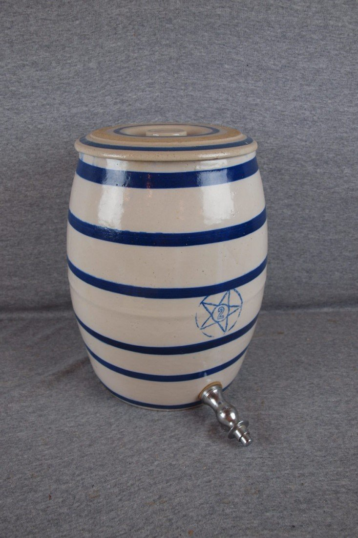 156: Blue and white stoneware 2 gallon blue band water