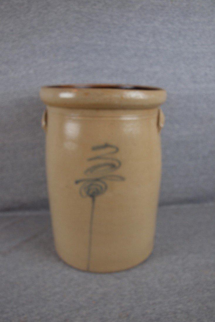 158: Salt glaze 3 gallon crock churn, no lid, bee sting