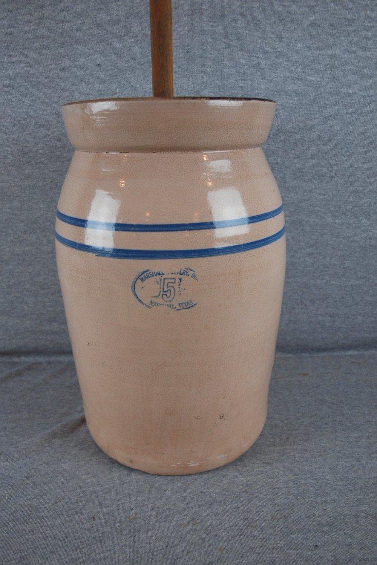 160: Blue and white stoneware 5 gallon crock churn, blu