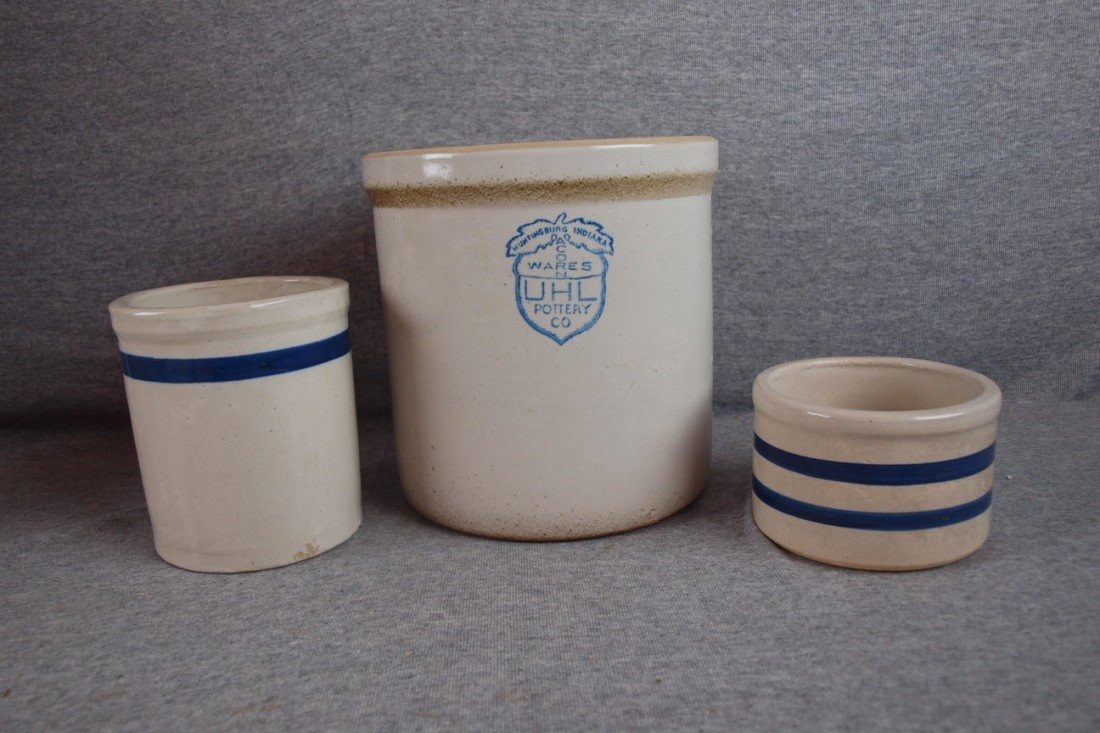 161: Blue and white stoneware lot of 3 crocks including