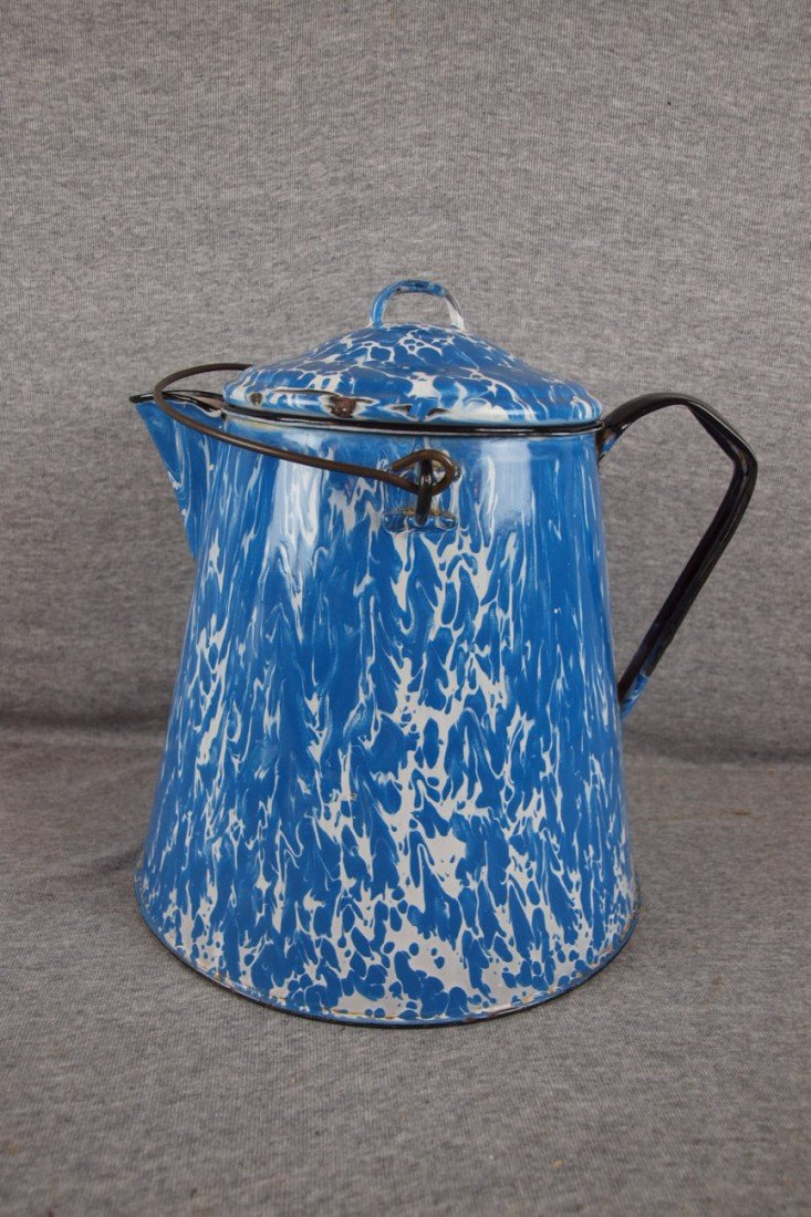 "163: Blue and white granite ware coffee urn, 11""h"