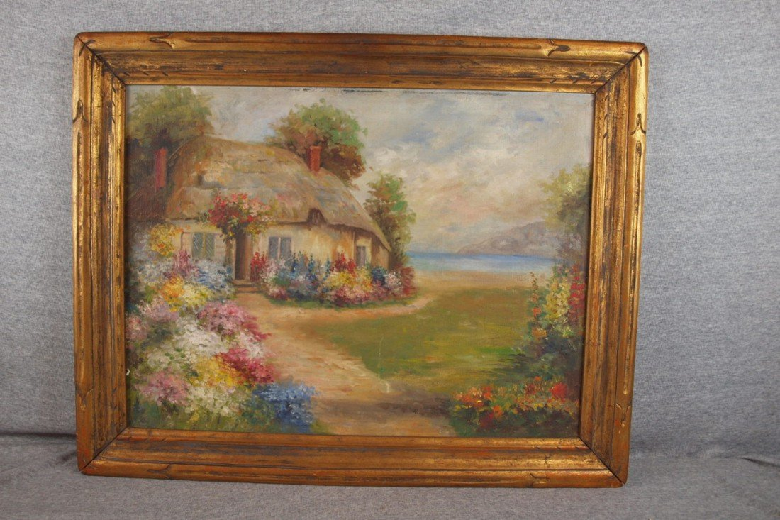 167: Oil on board English cottage and lake landscape, u