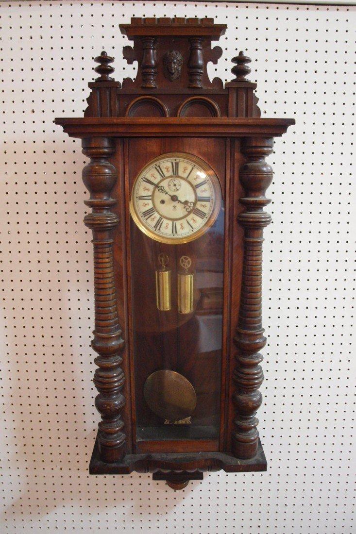 168: Gustav Becker walnut 2 weight wall regulator clock