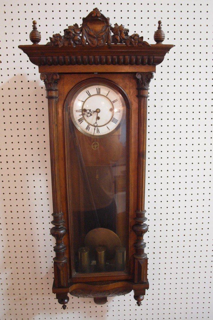 "169: Walnut Vienna 3 weight wall regulator clock, 45"""