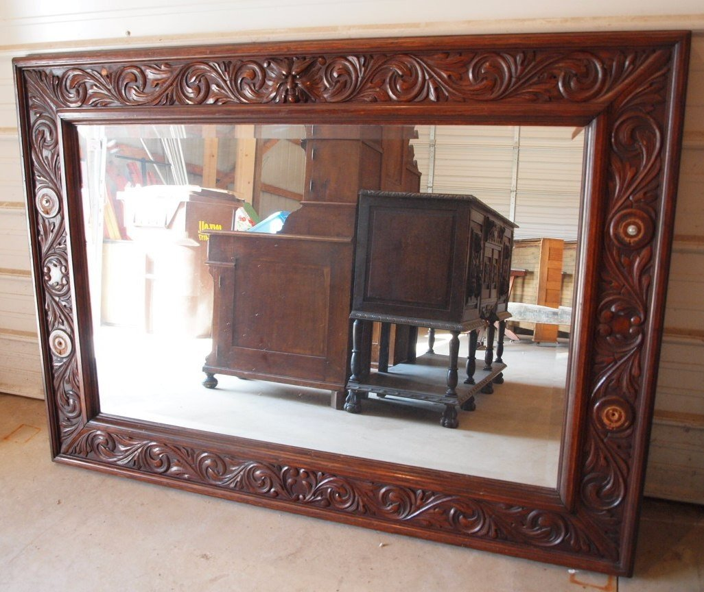 176: Monumental oak wall beveled wall mirror with old m