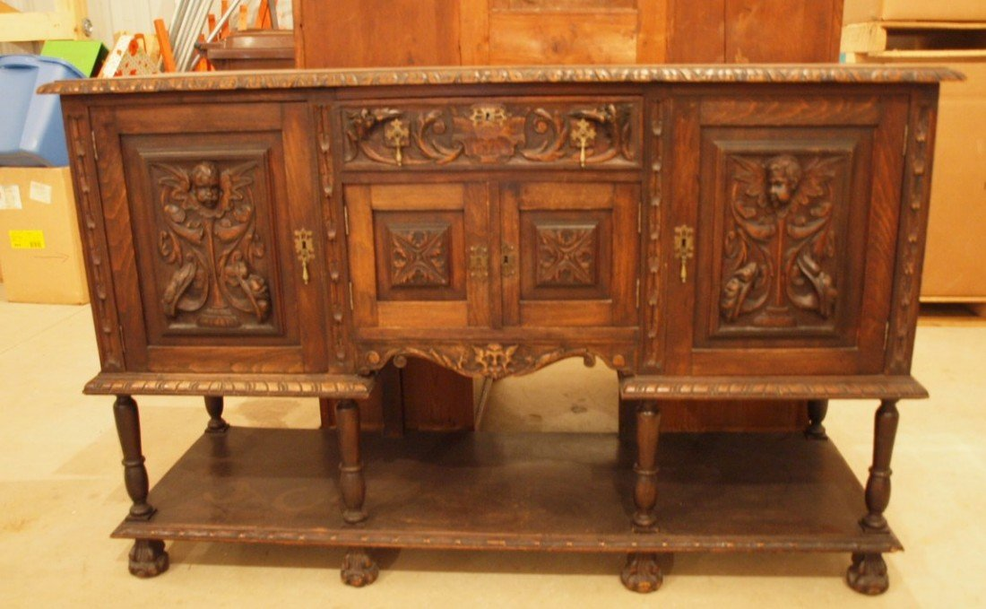 """178: English sideboard with baby face doors, 62""""w x 39"""
