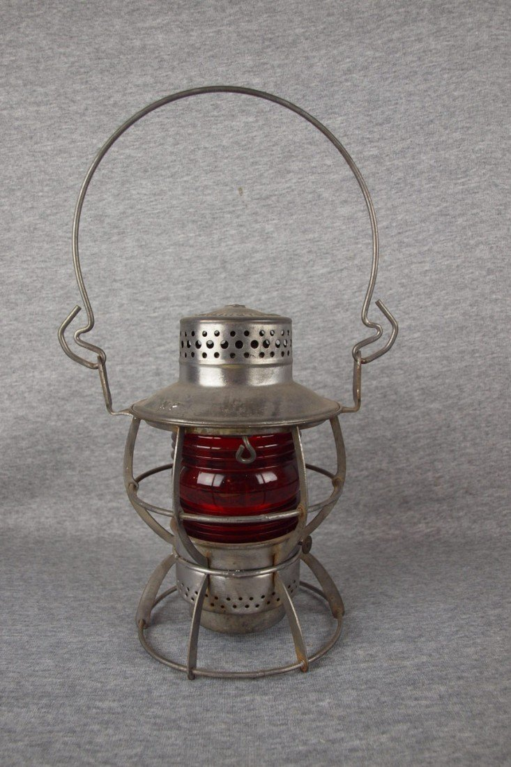 8: Dressel railroad lantern with short red ribbed globe