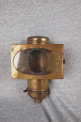 "Brass Dining Car Lantern ""Handlan"", 9""h, 6""w"
