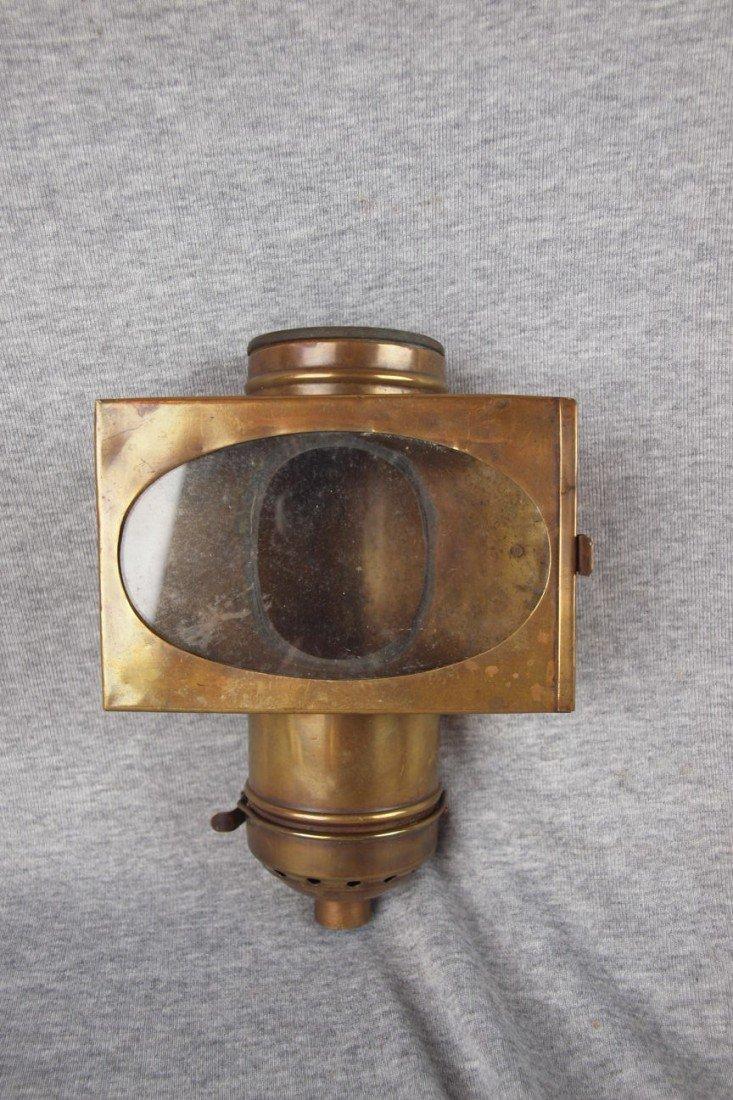 "52: Brass dining car lantern ""Handlan"", 9""h, 6""w"