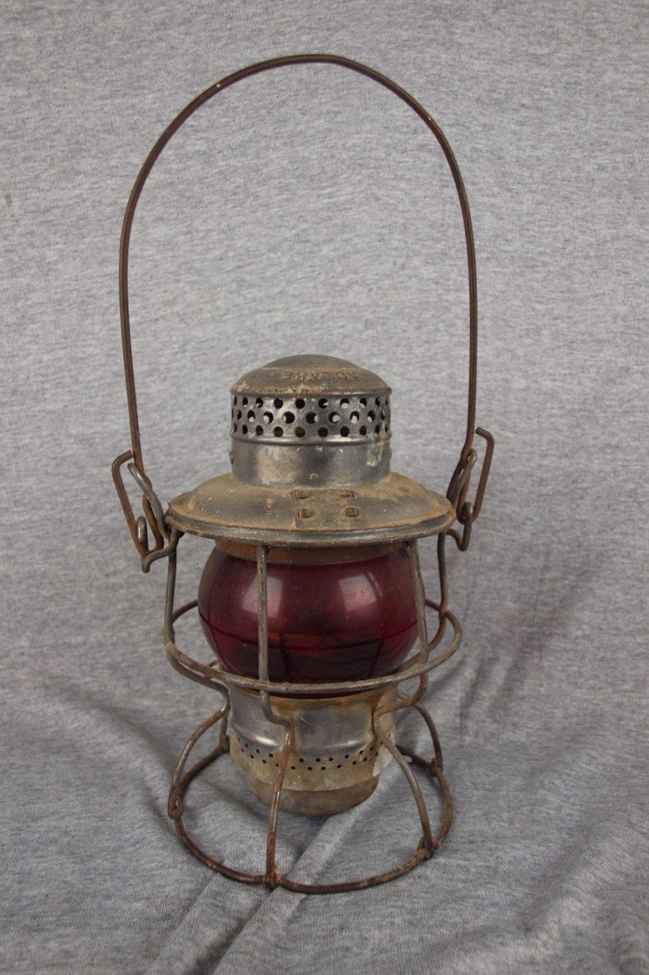 59: Adlake railroad lantern with short red globe etched
