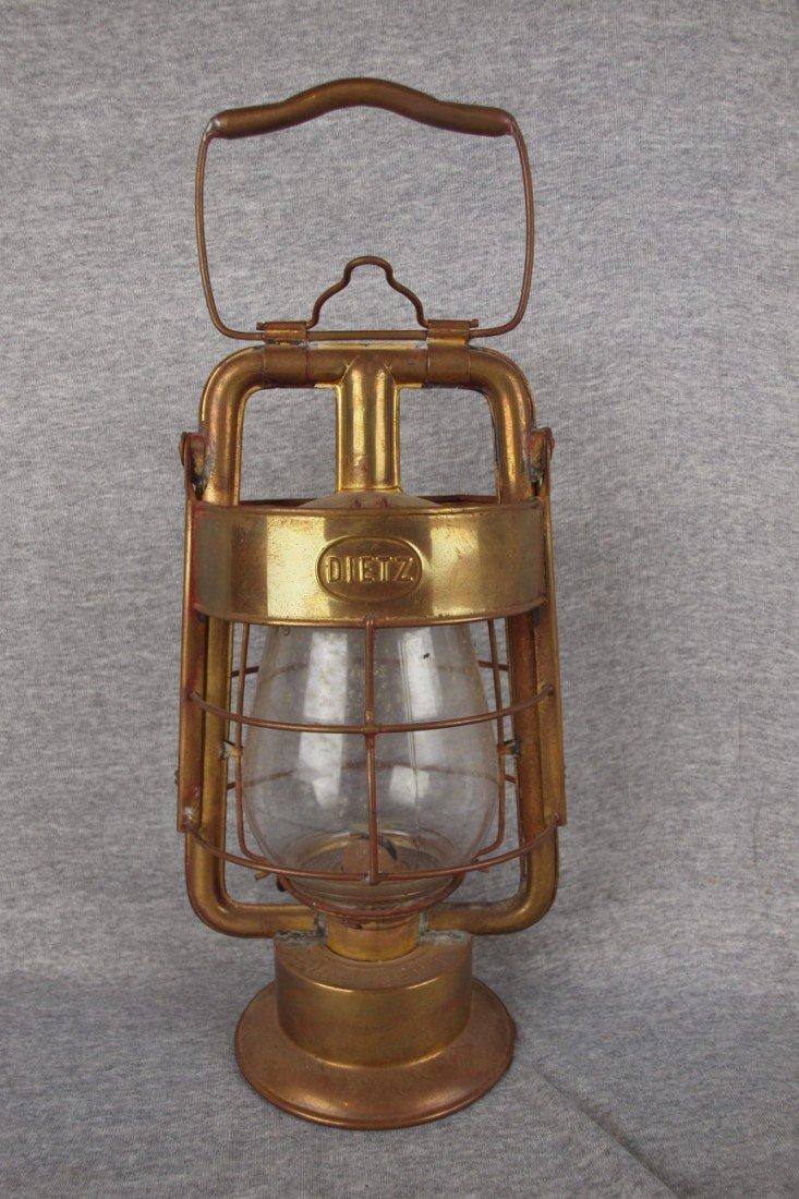 """62: Dietz brass firemans lantern embossed """"Dietz King F"""