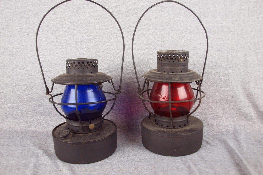 71: Pair of Handlan railroad lanterns, onewith blue glo