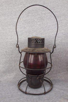 Dietz No. 39 Railroad Lantern With Red Tall Globe