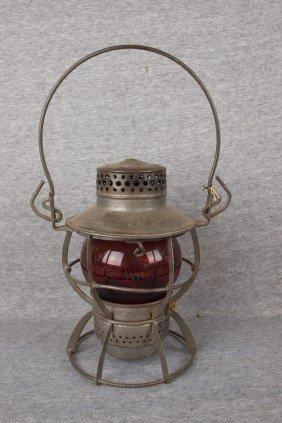 "Dressel Railroad Lantern Embossed ""WAB.RY"" With Re"