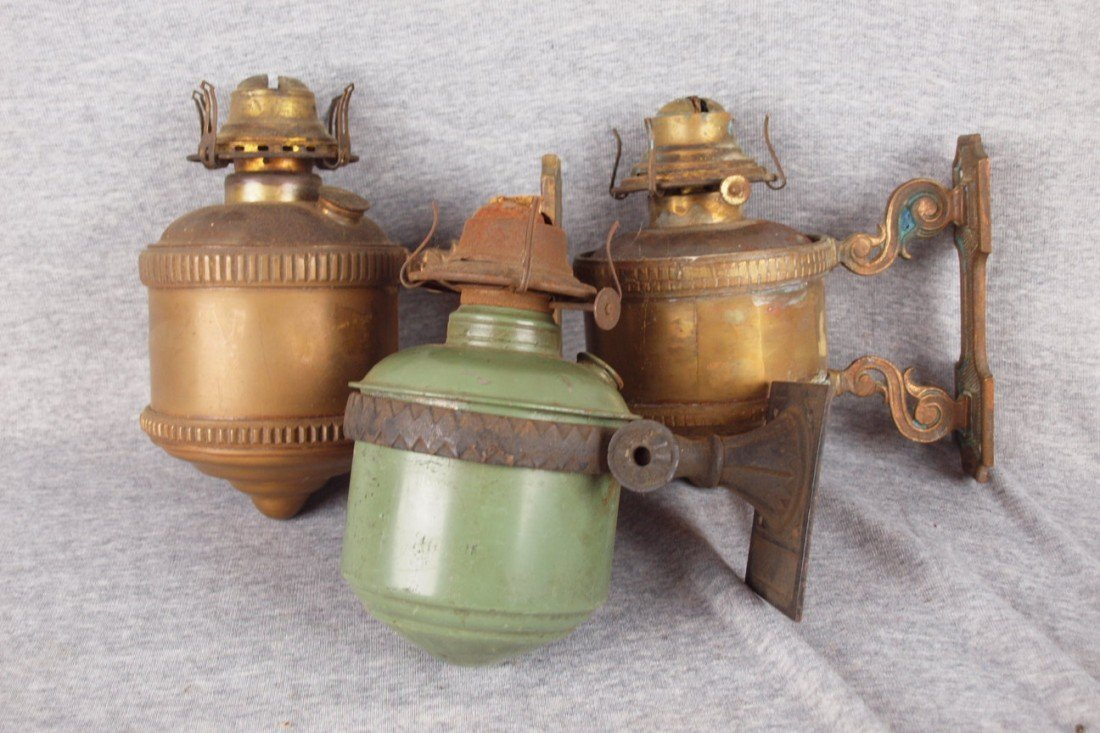 123: Lot of 3 wall mounted brass and iron caboose lamps