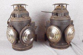 Adlake Pair Of Marker Lights Each With 2 Lenses, E