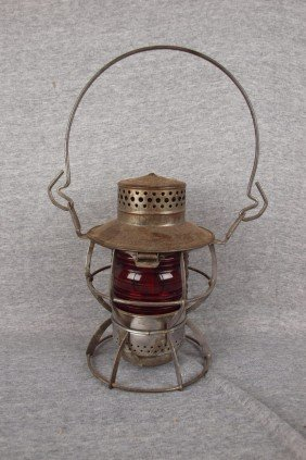 "Dressel Railroad Lantern Embossed ""WTCo"" With Red"