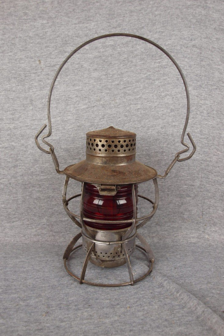 """133: Dressel railroad lantern embossed """"WTCo"""" with red"""