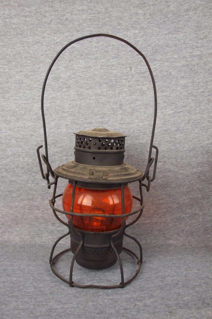 "136: Adams & Westlake railroad lantern embossed ""B&ORR"""