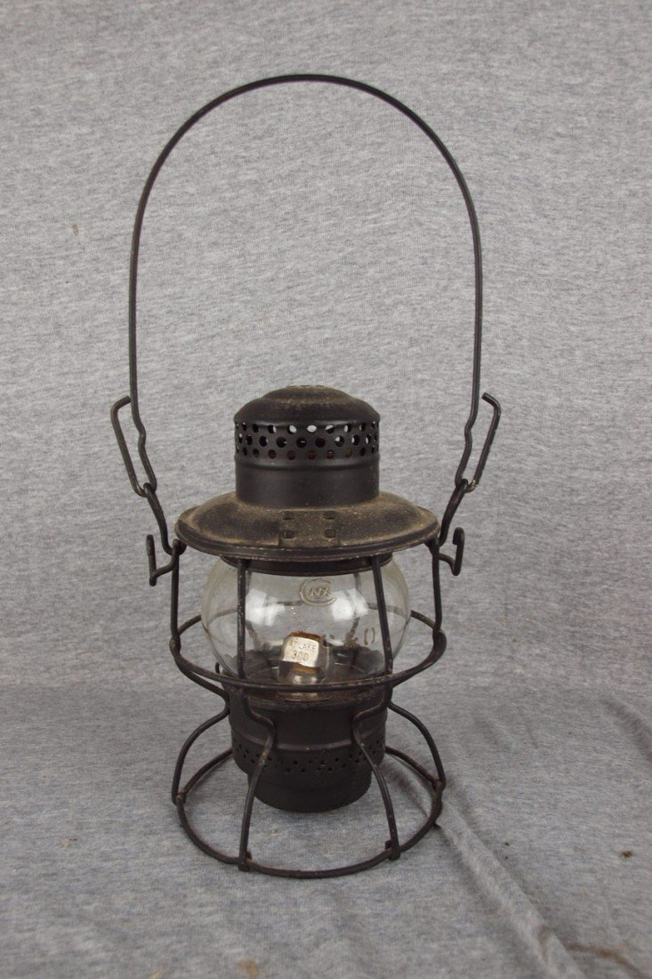 137: Adlake railroad lantern with clear globe, both emb