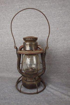 "Dietz Vesta Railroad Lantern Embossed ""P&LERR"" (Pi"