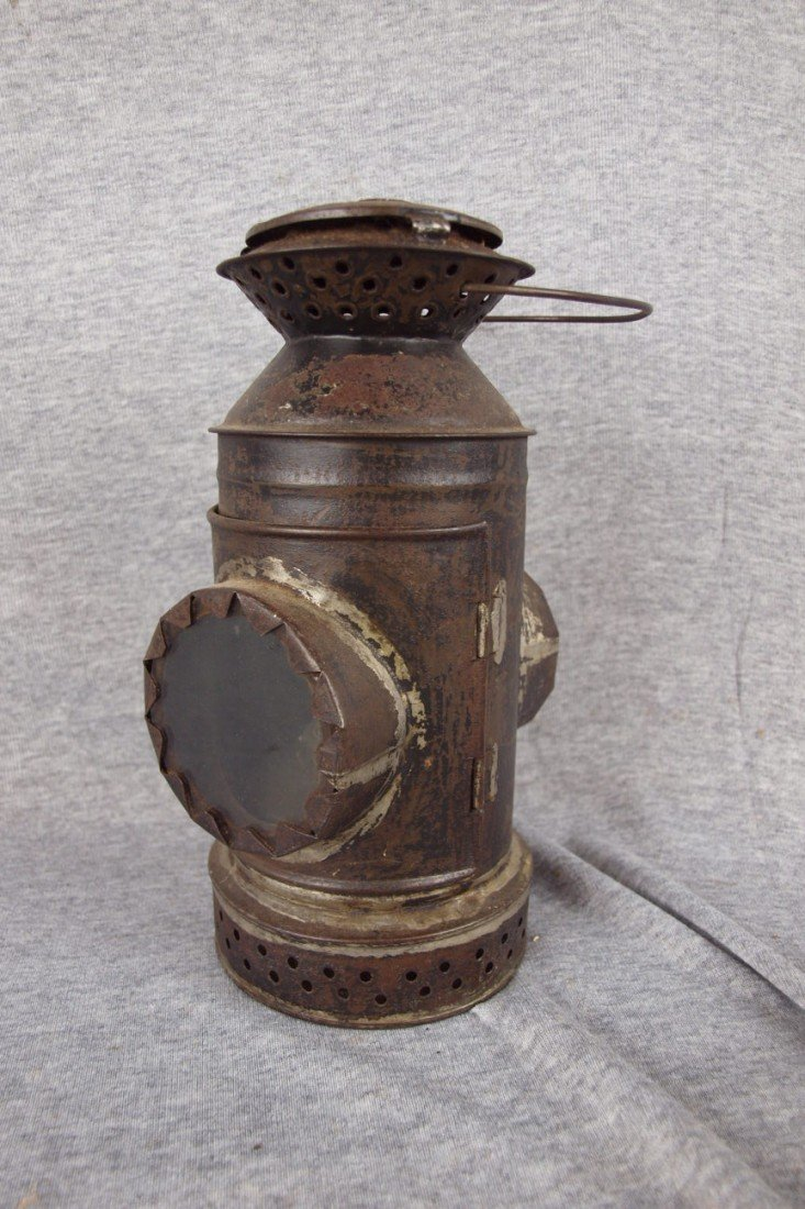 150: Early tin lantern with 2 clear lenses