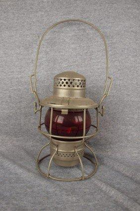"""Adlake Kero Railroad Lantern Embossed """"PC"""" With Re"""