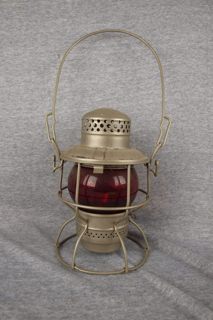 """154: Adlake Kero railroad lantern embossed """"PC"""" with re"""