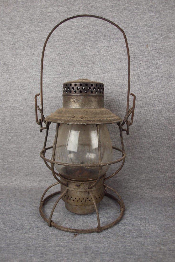 """158: Adams & Westlake railroad lantern embossed """"PENNSY"""