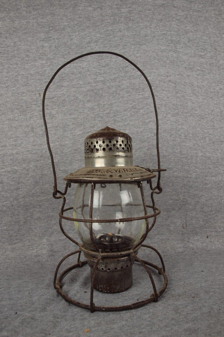 "192: Railroad lantern embossed ""LE&WRRCO"" with tall cle"