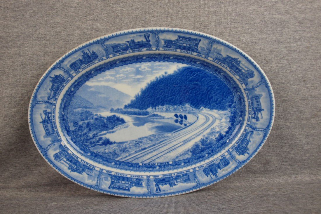 "501: B&ORR railroad china oval platter, ""Indian Creek"","