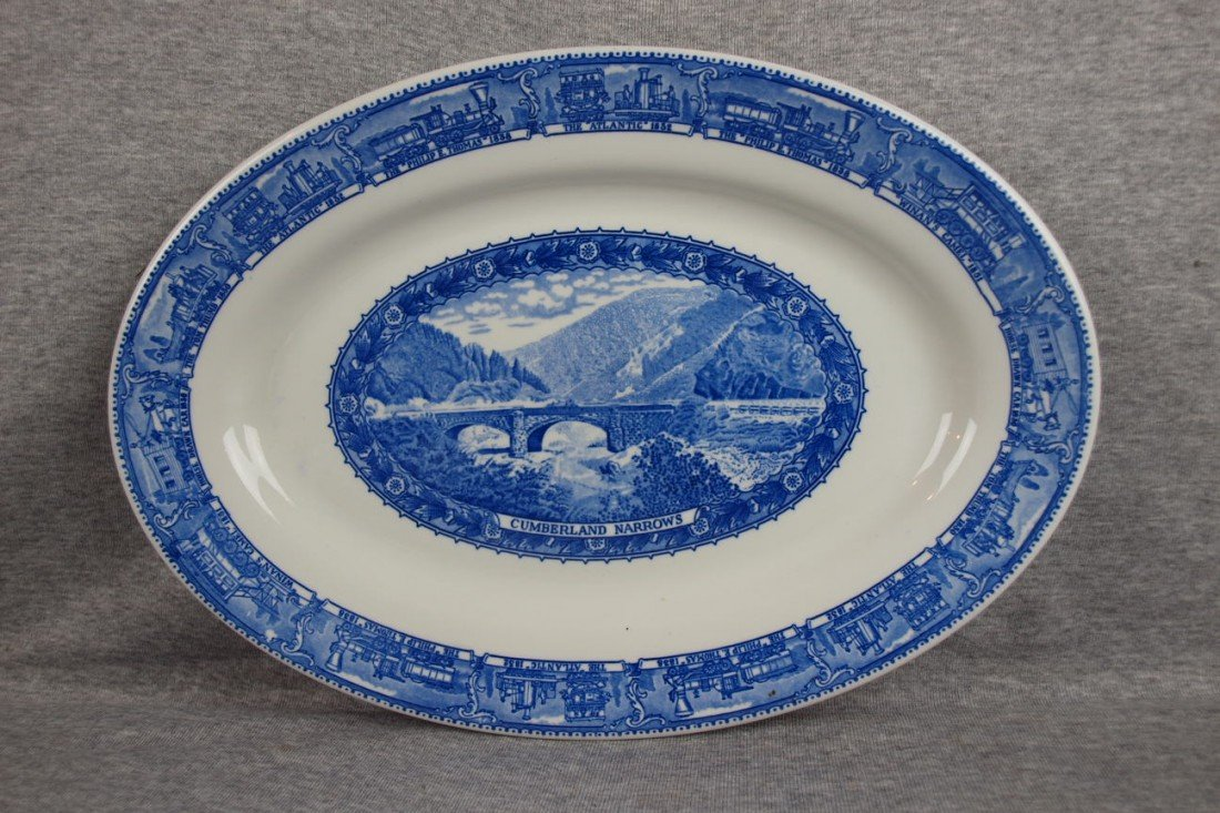 "502: B&ORR railroad china oval platter,""Cumberland Narr"