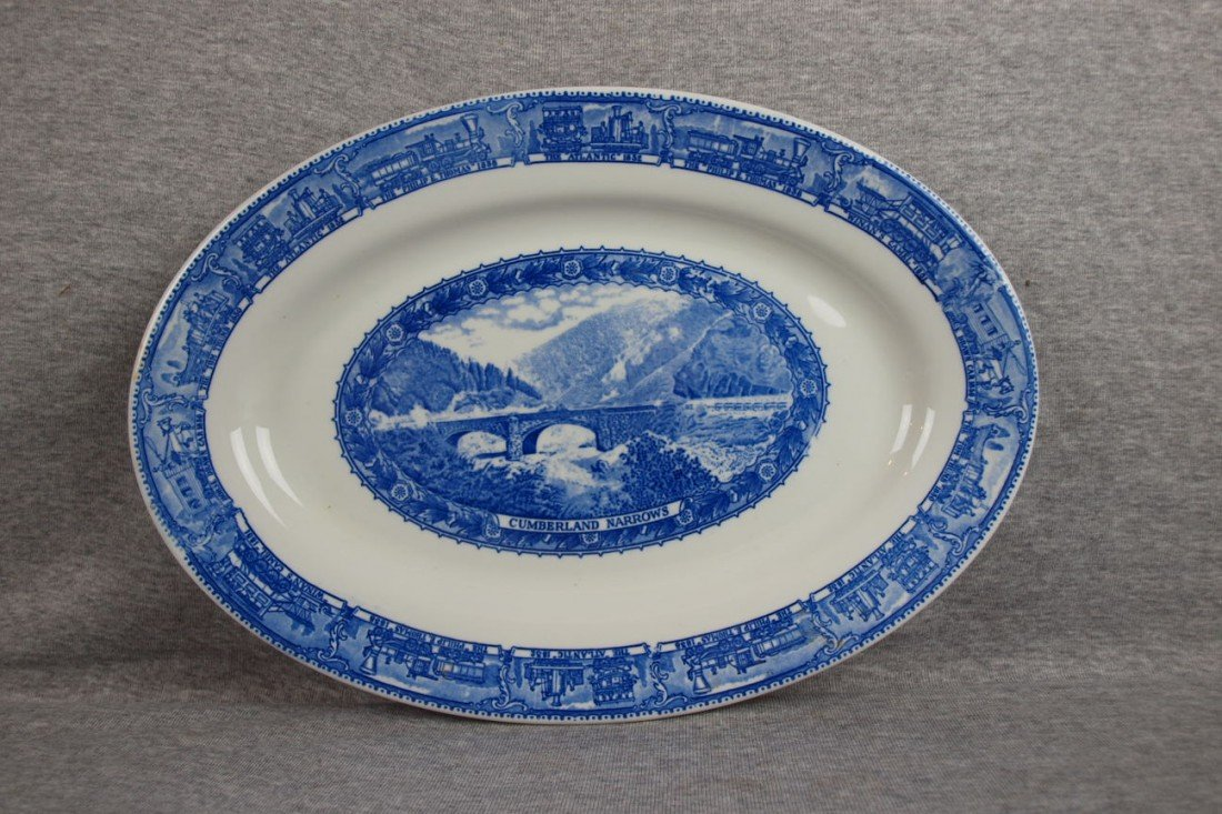"503: B&ORR railroad china oval platter,""Cumberland Narr"