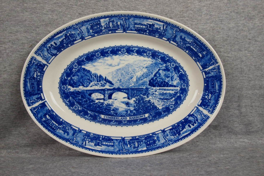 "504: B&ORR railroad china oval platter,""Cumberland Narr"